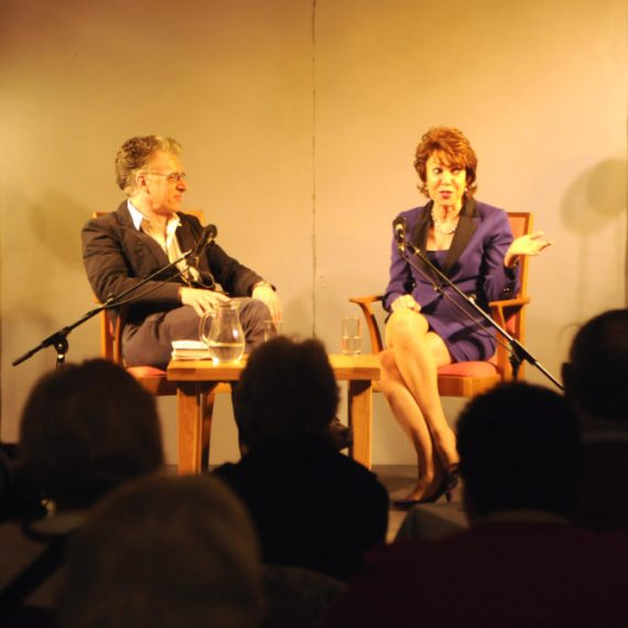 Pix Show: Kathy Lette the Australian author in conversation with Sam North at Chagword the Dartmoor Literary Festival in Chagford Devon.  PIX (C) STUART CLARKE. March 2013 Phone: 07831 206104