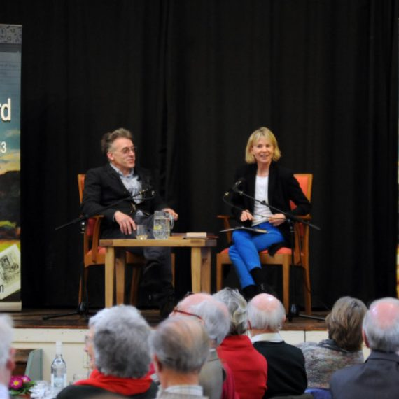 Pix Show: Kate Mosse author of the Languedoc Trilogy in converation with Sam North at the Chagword Literary Lunch. Chagword the Dartmoor Literary Festival in Chagford Devon  PIX (C) STUART CLARKE. March 2013 Phone: 07831 206104